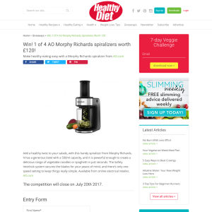 Win 1 if 4 AO Morphy Richards Spiralizers worth £120