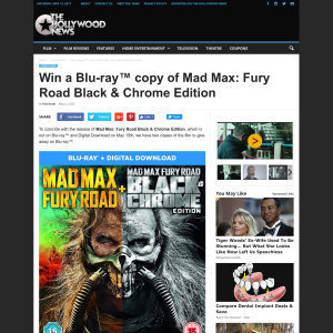 Win 1 of 2 Mad Max: Fury Road Black & Chrome Edition on Blu-ray