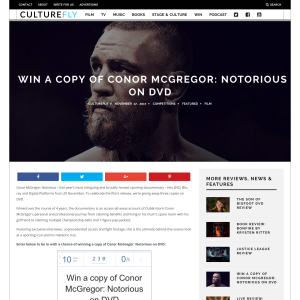 Win 1 of 3 copy of Conor McGregor: Notorious on DVD