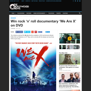 Win 1 of 3 rock 'n' roll documentary 'We Are X' on DVD