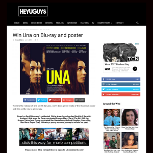 Win 1 of 5 Una on Blu-ray and a poster