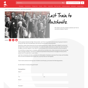 Win 2 Tickets for Last Train to Auschwitz at Epstein Theatre in Liverpool