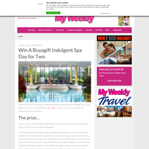 Win a Buyagift Indulgent Spa Day for Two