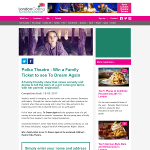 Win a Family Ticket to see To Dream Again