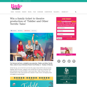 Win a family ticket to theatre production of 'Tiddler and Other Terrific Tales'