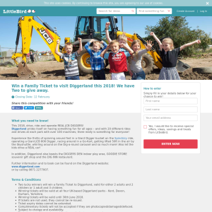 Win a Family Ticket to visit Diggerland this 2018
