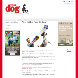 Win a Nerf Dog Tennis Ball Blaster