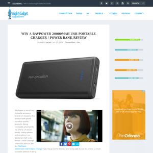 Win a RAVPower 20000mAh USB Portable Charger