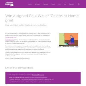 Win a signed Paul Weller Celebs At Home print and a ticket to the Celebs at Home Exhibition