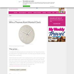 Win a Thomas Kent Mantel Clock