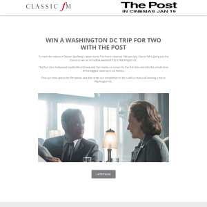 Win an incredible trip to Washington DC for two with The Post