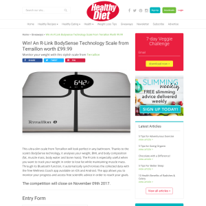 Win an R-Link BodySense Technology Scale From Terraillon Worth £99.99