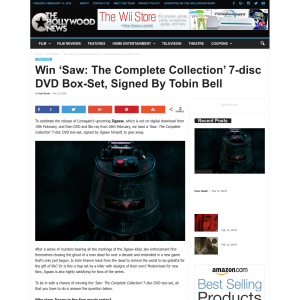 Win 'Saw: The Complete Collection 7-disc DVD Box-Set signed by Tobin Bell