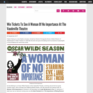 Win Tickets To See A Woman Of No Importance At The Vaudeville Theatre